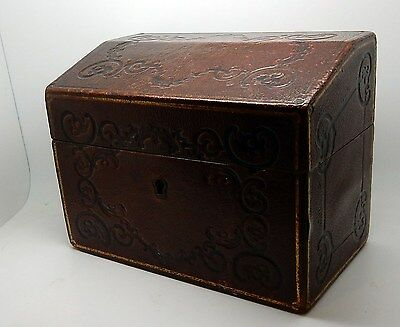 Antique / Vintage English Gilt & Embossed Leather Clad File Box England