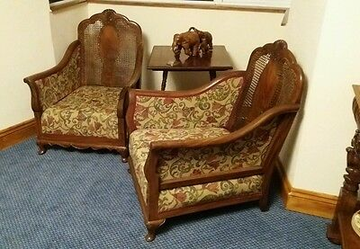 Antique Pair Of Walnut Colonial Bergere Club Chairs.