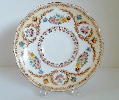 Crown Staffordshire Saucer Only F15744 English Bone China Floral Laurels c 1930+