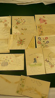 Postage Stamp paper art cards greetings cut stamps hand made calligraphy 14 P219