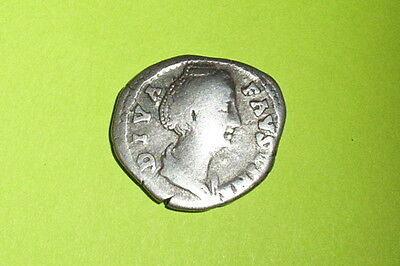 Authentic Ancient ROMAN SILVER COIN goddess Vesta FAUSTINA SR Vestal Virgins vf