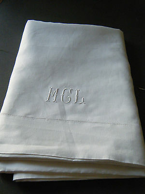 "Antique Bed Flat Sheet French 2 borders ladder lace raised initials MGL112"" x90"""