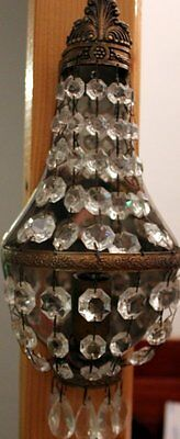 VINTAGE  PAIR FRENCH EMPIRE BASKET PRISM WALL SCONCES Electrified N°2