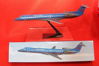 Bma British Midland Embraer 145 Plastic Push Fit Model With Stand 1-100 Scale