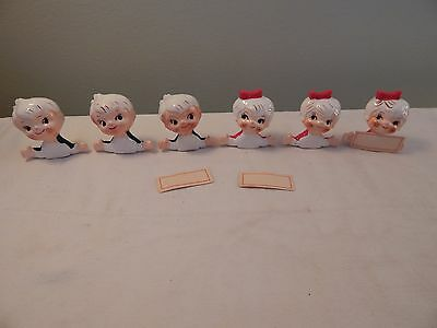 6 Vintage Holt Howard Japan Christmas Boy Girl Place Card Holders Red Green HH