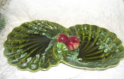 Large Usa # 716 Wade Of California Double Serving Dish W/ Apples Majolica Look