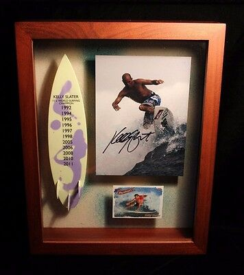Kelly Slater 11 x World Surf Champion Signed Photo Trophy Case Mini Surfboard