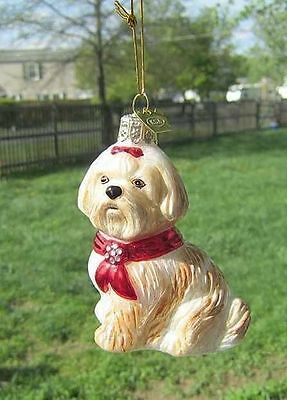 Quality Glass SHIH TZU TAN/WHITE III Blown Glass Christmas Tree Ornament