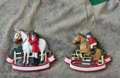 Holiday ENGLISH EQUESTRIAN Horse/Rider Resin Christmas Ornament set of 2