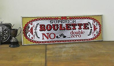 Vintage Superior Roulette Double Zero Games Bar Room Mirror Made in Japan 1970's