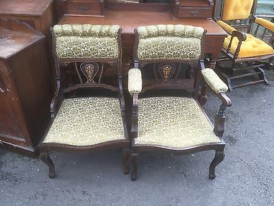Gorgeous pair of Edwardian Marquetry Inlaid Fireside Chairs
