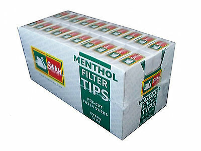 20 Boxes Swan Menthol Cigarette Smoking Filter Tips Pre Cut 2400 Tips Full Box