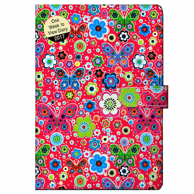 2017 A5 Padded Butterly Floral Week to View (On 2 Pages) Diary (Red)