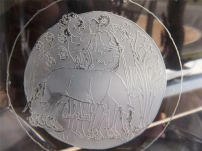 Vtg ORREFORS Etched Male w/ Horses Paperweight Bookend 1979 Signed * XLNT !