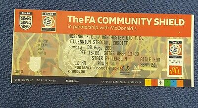 fa cup community sheild ticket 2004 Arsenal v Manchester United