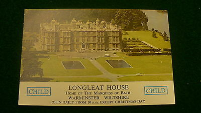 Longleat House admit one ticket Warminster Wiltshire Marquess of Bath UK