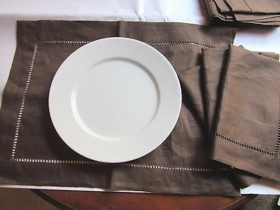 NEW Set of 6 Pottery Barn Hemstitched 100% linen Chocolate Brown Placemats
