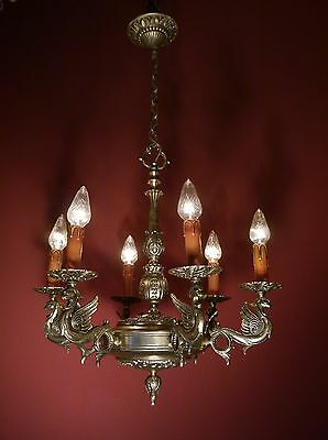 DRAGON NICKEL CHANDELIER SILVER VINTAGE LAMP OLD ANTIQUE Ancient light