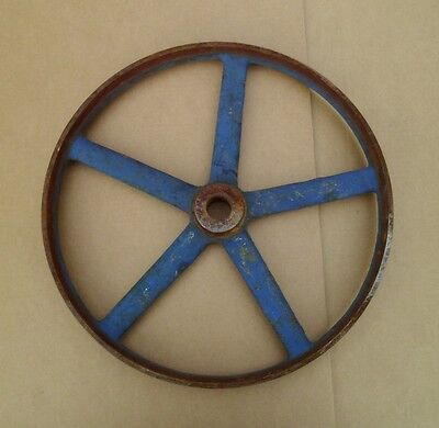 "Vintage 13 3/4"" Cast Iron 5 Spoke Wheel Industrial Steampunk"