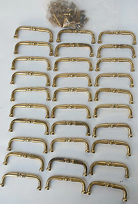 30 Vintage Aged Brass Furniture Cabinet Drawer Bail Pulls with screws