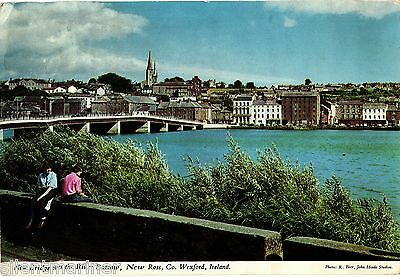 New Bridge, River Barrow, New Ross, Co. Wexford, colour postcard, posted 1978