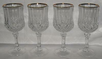 "Cristal d'Arques Longchamp 4 Gold Edge Crystal Goblets 7"" New 8.5 Ounce"