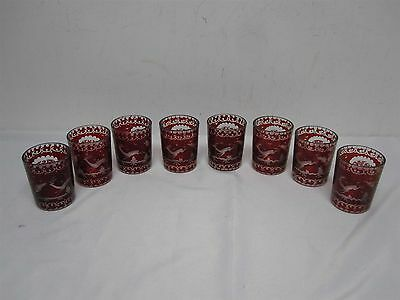 8 Antique Bohemian Egermann Ruby Cut To Clear Glasses Tumblers Etched Deer Stag