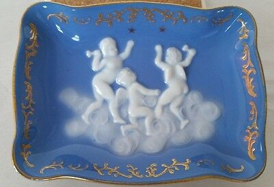 Vintage Napco White & Blue Cherub Angel Clouds Porcelain Dish