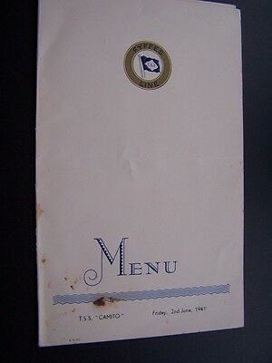 T.s.s Camito 02/06/1961 4 Page Menu Card-Fyffes Line