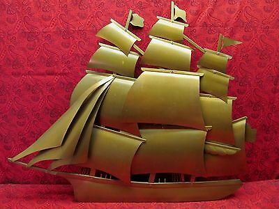 Beautiful Vintage Handcrafted Signed Copper Art 3D Wall Sculpture Clipper Ship