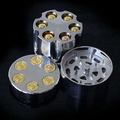 New Revolver Bullet 3 Layers Tobacco Spice Metal Herb Grinder Novelty Mill Tool
