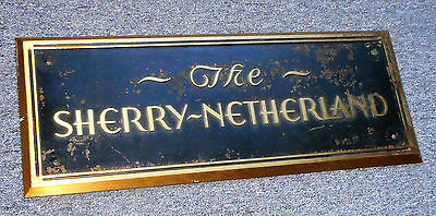 "Rare Antique Bronze Wall Sign ""the Sherry Netherland"" Central Park New York Lge."