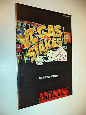 VEGAS STAKES Super Nintendo SNES Instruction Booklet Manual Only