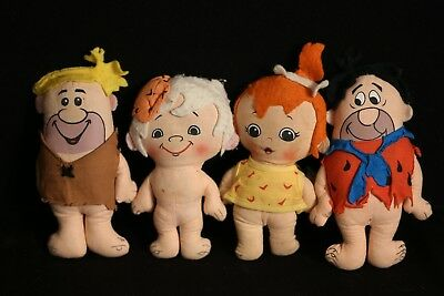 The Flintstones LOT of 4 Vintage KNICKERBOCKER Cloth Dolls Pebbles Bam Bam Fred