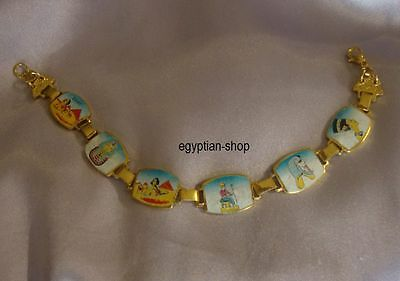 Egyptian GOLDTONE BRACELET- 6 Pharaonic Scenes - Nefertiti-King Tut- #11