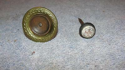 2 - Vintage Victorian Era Picture Hanging Nails 1 - Brass 1 - Iron Cross