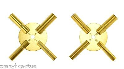 Clock Winder Winding Set of 2 Key BRASS Even & Odd Numbers Universal NEW 4 Prong