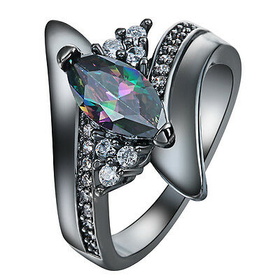 Women Fashion Colorful Crystal Black Gold Filled Ring Band Size 6-10 Jewelry