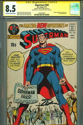 DOUBLE COVER 1971 CGC SS 8.5 Signed Neal Adams Art ~ Superman #240 + Curt Swan