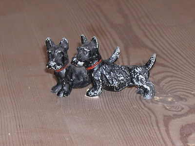 Antique Austrian Metal Model Of Two Scottish Terrier Dogs Dog 1920