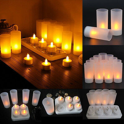LED Rechargeable Flameless Flickering Rechargeable Tea Lights Soft Candles Set