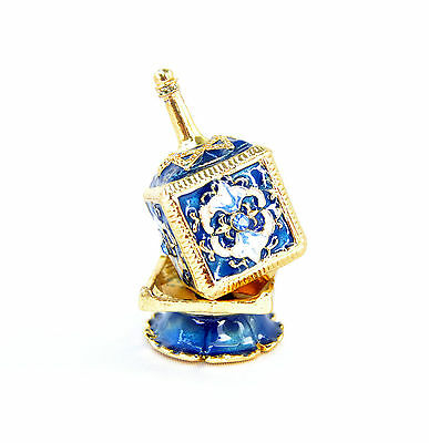 Decor Enameled Jeweled Dreidel & Display Chanukah Hanukkah Sevivon top.Blue