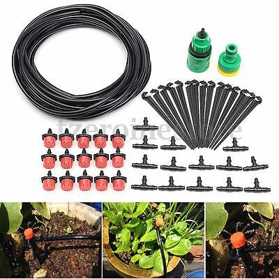 10m Micro Drip Irrigation System Kit Automatic Watering Plant Garden Greenhouse