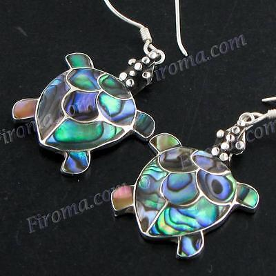 "13/16"" 925 STERLING SILVER TURTLE PAUA ABALONE SHELL DANGLING TURTLE earrings"