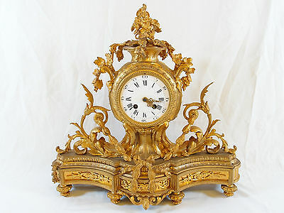 Antique Bronze Ormolu Mantel Clock with Ornate Vine and Scroll Design
