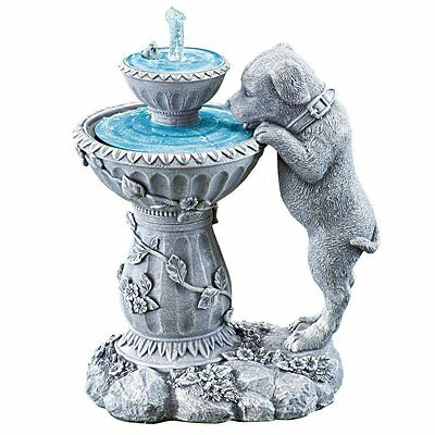 Motion Activated Puppy Dog Stone Look Water Fountain Yard Garden Decor New