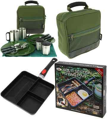 Ngt Carp Fishing Multi Section Frying Pan + Deluxe Cutlery Picnic Set Camping