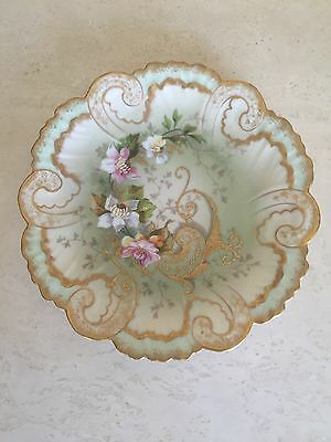 LIMOGES AK CO PLATE, Green Gold And Pink Hand Painted Floral Excellent!