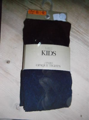 M&S 2 Pairs Self Coloured Diamond Pattern Opaque Tights 11-12y Navy BNWT