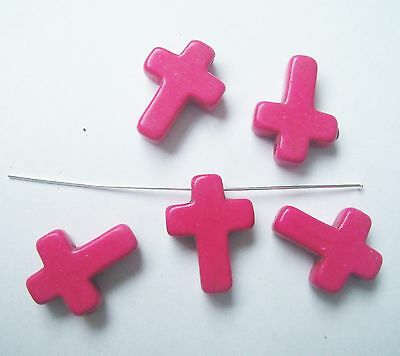 5 pink howlite turquoise 16mm cross beads